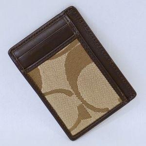 COACH~5 slot card case~SIGNATURE CANVAS/LEATHER